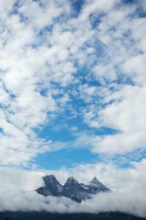 canmore: The Three Sisters mountain group near Canmore, Alberta in the Rocky Mountains of Canada