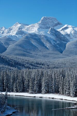Mount Lougheed near Banff in the Canadian Rockies Stock Photo