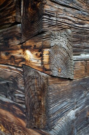 Dove tail corner joints of an old log cabin photo