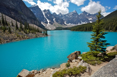 Summer day at Moraine Lake in Banff National Park, Rocky Mountains of Canada Stock Photo