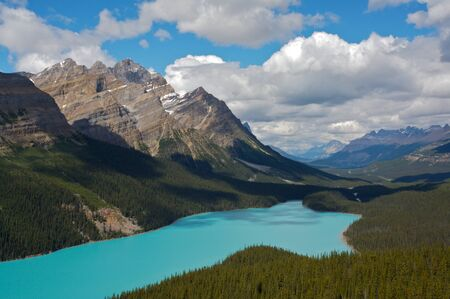 Peyto Lake in Banff National Park, Rocky Mountains of Canada Stock Photo