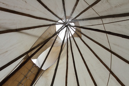 plains indian: Inside a North American Plains Indian style teepee