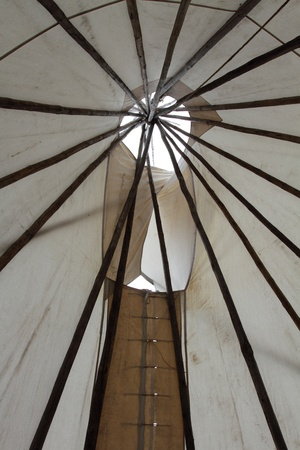 teepee: Inside a North American Plains Indian style teepee