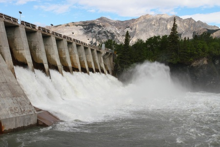Spillway of a hydro electric dam in the Rocky Mountains of Canada Editorial