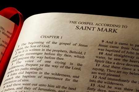 Chapter 1 of the Gospel of Mark in the New Testament of the Holy Bible Stock Photo