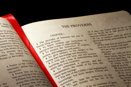 Chapter 1 of the Book of Proverbs in the Old Testament of the Holy Bible Foto de archivo