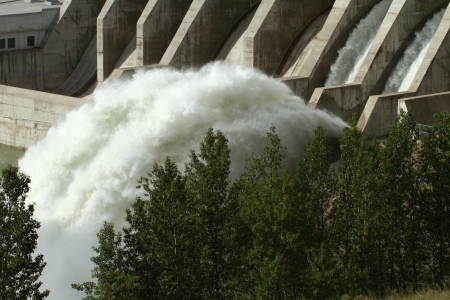 The Ghost Hydroelectric Dam spillway, Alberta, Canada