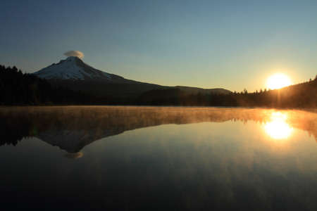 Sunrise on Mount Hood and Trillium Lake, Oregon, U.S.A. photo