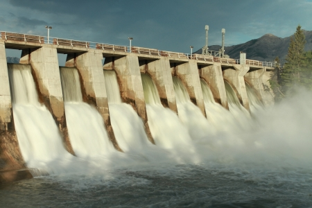 dam: Time exposure of the spillway overflow on the Kananaskis Dam, Alberta, Canada Stock Photo