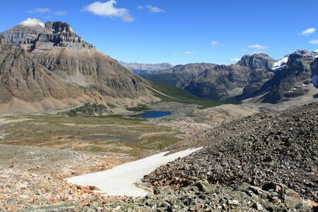 Eiffel Lake in the Valley of the Ten Peaks near Moraine Lake in the Rocky Mountains of Canada Stock Photo