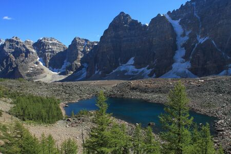 canadian rockies: Eiffel Lake in the Valley of the Ten Peaks near Moraine Lake in the Rocky Mountains of Canada Stock Photo