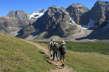 canadian rockies: A group of hikers near Moraine Lake in Banff National Park