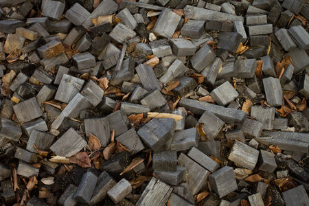 2x4 wood: Old cut off pieces of scrap lumber Stock Photo