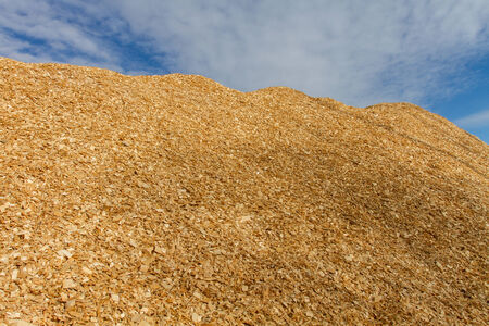 Large pile of wood chips at a plywood processing plant