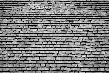 Cedar wood roof shingles texture and pattern Stock Photo