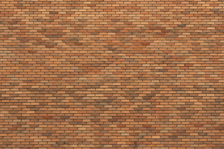 Large wall of smooth orange color bricks