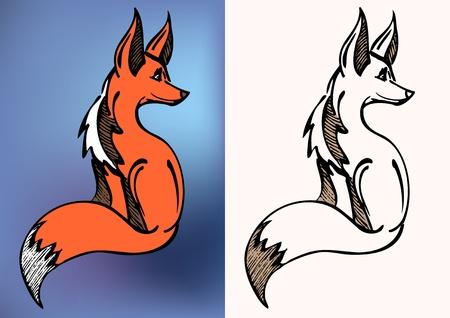 fox face: un lado rojo sentada logotipo de Fox Vectores