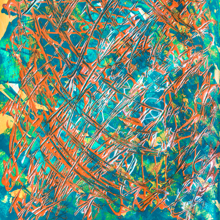 orange and turquoise art painted texture photo