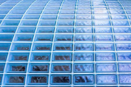 blue glass blocks architectural texture background photo