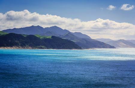 sea landscape with hills, location - Wellington, North Island, New Zealand