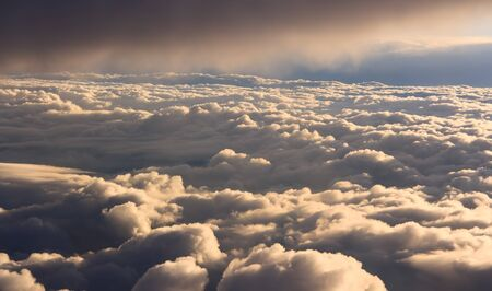 fluffy clouds aerial sky view background photo