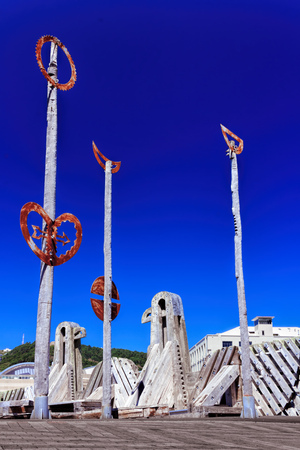 north island: Old wooden bridge landmark - destination Wellington, North Island, New Zealand Stock Photo