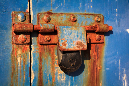 old vintage rust keylock and door image Stock Photo
