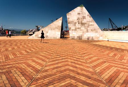 Old wooden bridge pyramid landmark -Wellington, North Island, New Zealand Stock fotó