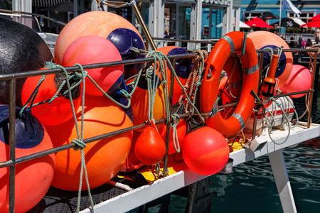 fishing red buoy, location - Wellington, North Island, New Zealand