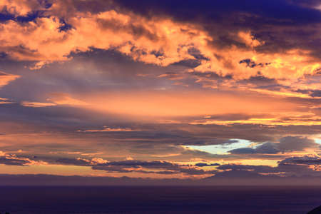 dramatic Sunset sunrise orange clouds horizontal photo