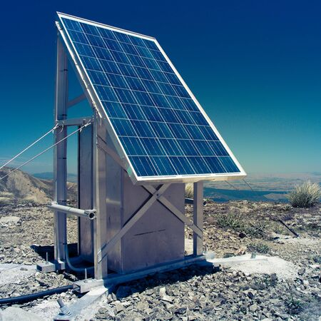 solar battery alternative enegry at the mountains landscape Stock Photo