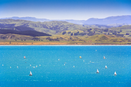 sea landscape with hills, location - Wellington, North Island, New Zealand