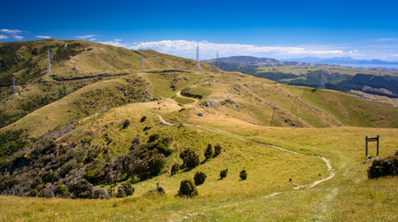 farm land and road. Location: New Zealand, capital city Wellington. View from the SkyLine track and Mount KayKay