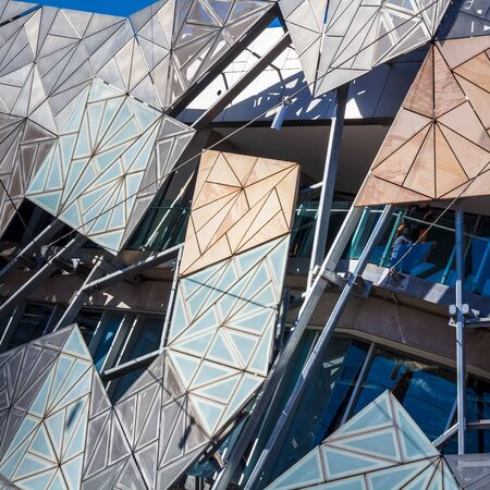 Modern architectire glass wall, location - Melbourne, Federation square, Australia Stock Photo