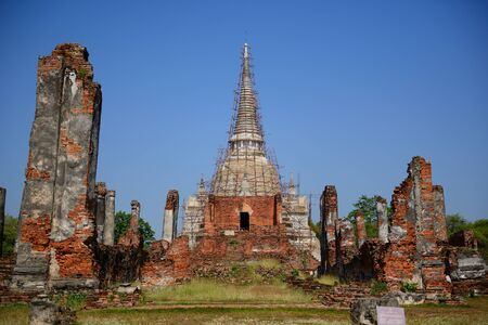 reigns: Wat Phra Si Sanphet was built in 1448 A D  on the site which had served for the royal palace from 1350 to 1448 spanning the reigns of King Ramathibodi I to King Sam Phraya  Stock Photo