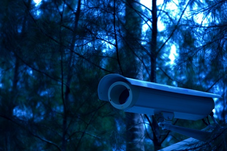 security camera on the fence next to the jungle in night time photo