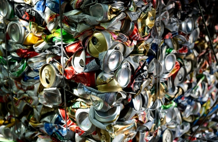 Bangkok Thailand, 07 July 2012: Crushed aluminum cans ,The cans will be shipped to an aluminum foundry in Bangkok.