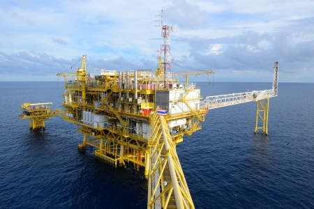 drilling rig: The oil rig in the gulf of Thailand  Stock Photo