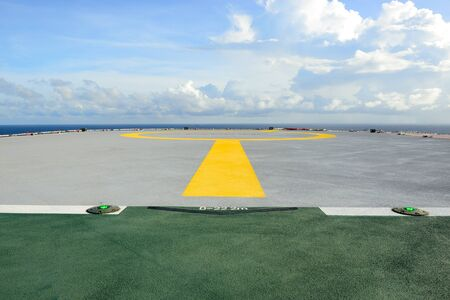 helideck: The helideck for helicopter landing at oil rig for offshore operation