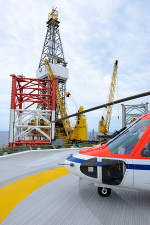 industrial park: The helicopter park on oil rig to pick up worker