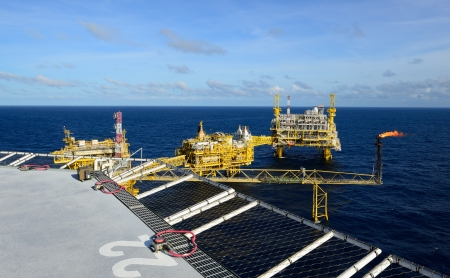 The oil rig platform is in the gulf of Thailand.