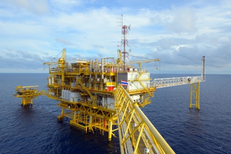 drilling rig: The offshore oil rig in the gulf of Thailand. Stock Photo