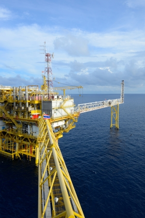 The offshore oil rig in the gulf of Thailand. Stock Photo