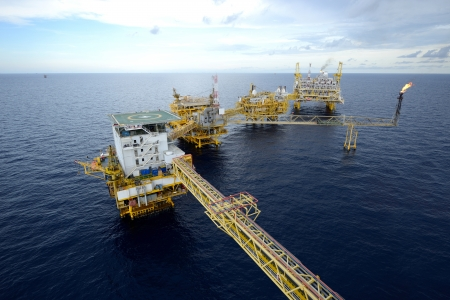 offshore: The  large offshore oil rig drilling platform Stock Photo
