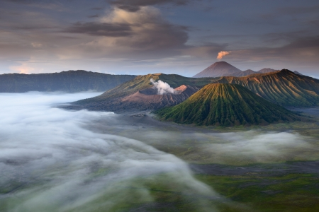 landscape of  Volcanoes in Bromo mountain at Java, Indonesia photo