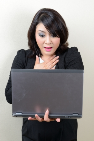beautiful business woman scared when look at the laptop screen photo