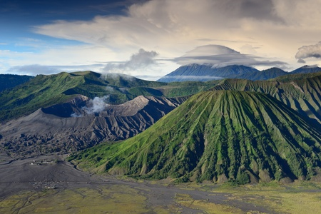 lenticular: landscape of Lenticular cloud on top of Volcanoes in Bromo mountain at Java, Indonesia Stock Photo
