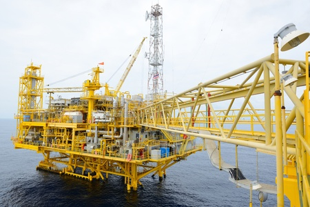 The offshore oil rig in the gulf of Thailand photo
