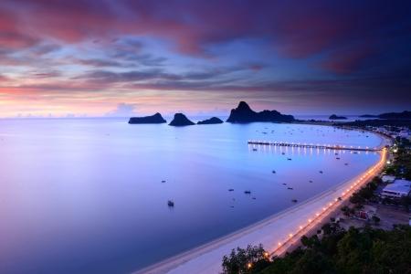 ao: Sunrise view of Ao Manao bay in Prachuap Khiri Khan, Thailand
