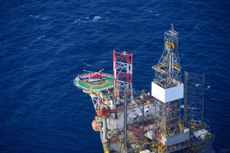 Top view of helicopter embark passenger on the offshore oil rig